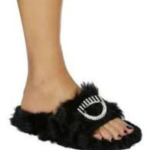 CHIARA FERRAGNI EMBELLISHED EYE LAMB FUR SANDALS